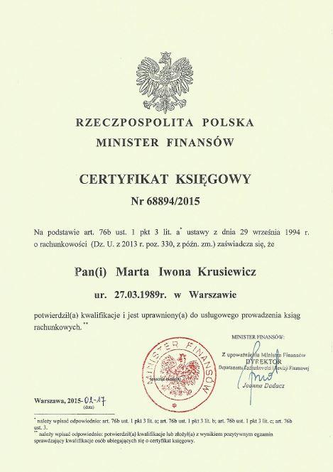 certyfikat ksiegowy